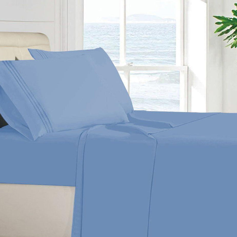 Egyptian Quality 100 GSM Microfiber Sheet Set Linen & Bedding Twin Light Blue - DailySale