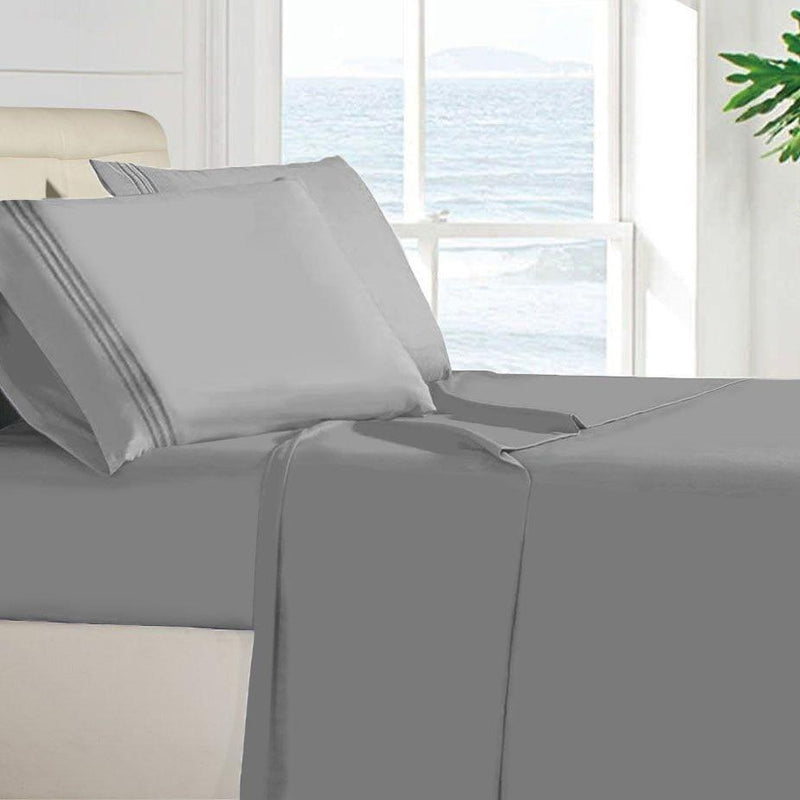 Egyptian Quality 100 GSM Microfiber Sheet Set Linen & Bedding Twin Light Gray - DailySale