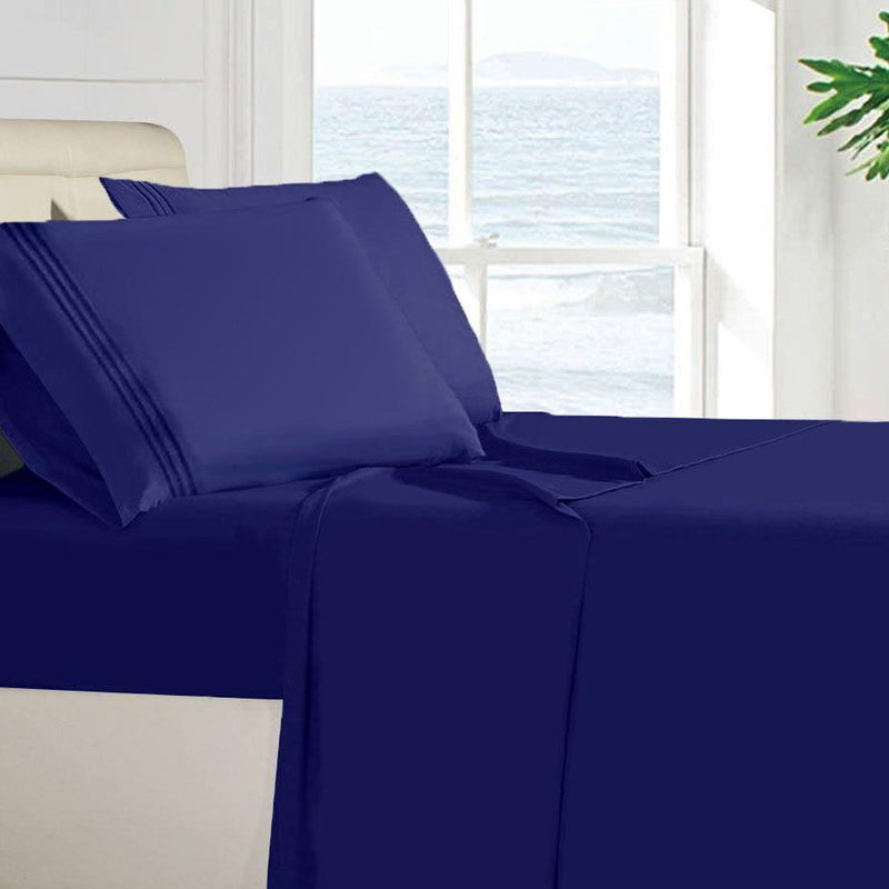 Egyptian Quality 100 GSM Microfiber Sheet Set Linen & Bedding Twin Navy Blue - DailySale