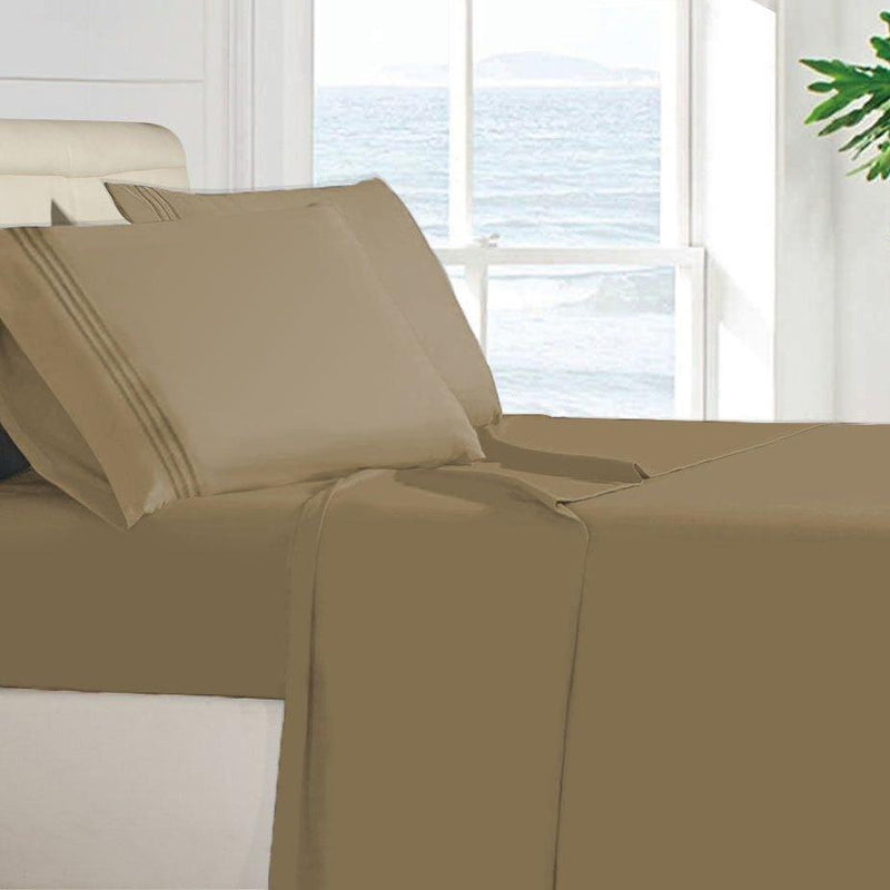 Egyptian Quality 100 GSM Microfiber Sheet Set Linen & Bedding Twin Taupe - DailySale