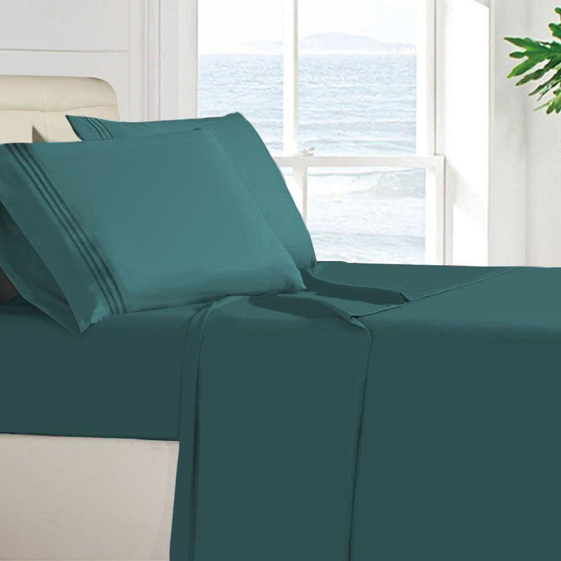 Egyptian Quality 100 GSM Microfiber Sheet Set Linen & Bedding Twin Teal - DailySale