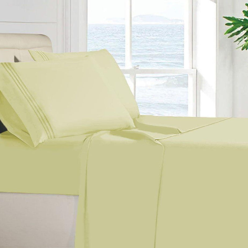 Egyptian Quality 100 GSM Microfiber Sheet Set Linen & Bedding Twin Vanilla - DailySale