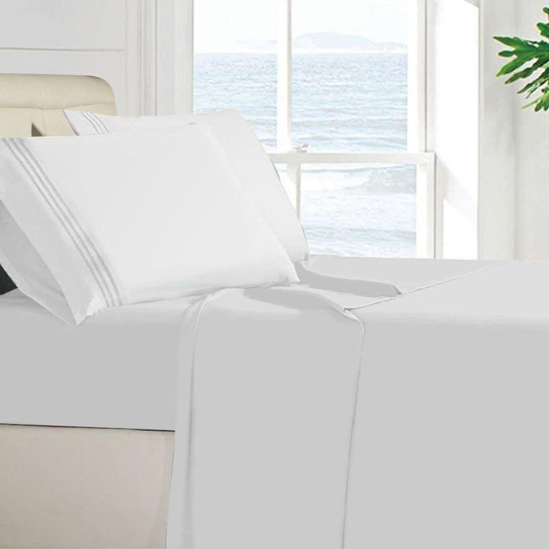 Egyptian Quality 100 GSM Microfiber Sheet Set Linen & Bedding Twin White - DailySale