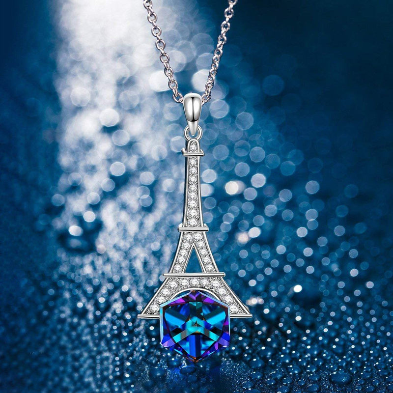 Eiffel Tower Blue Cubed Pendant Necklace Jewelry - DailySale