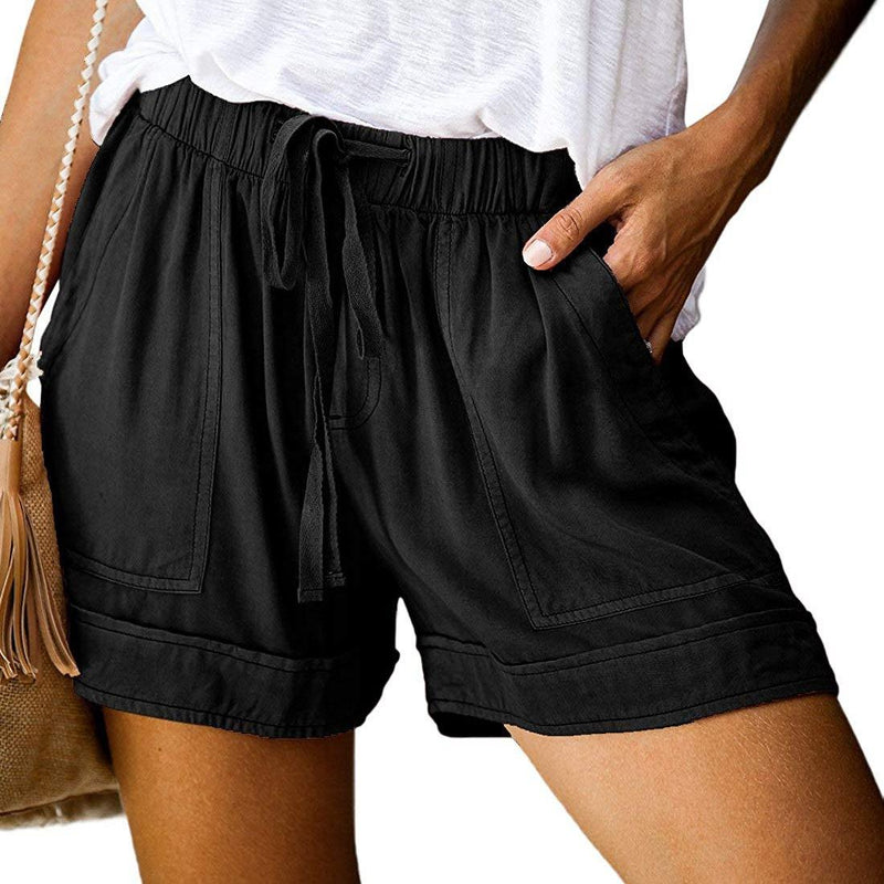 Elapsy Womens Casual Drawstring Elastic Waist Summer Shorts with Pockets Women's Clothing Black S - DailySale