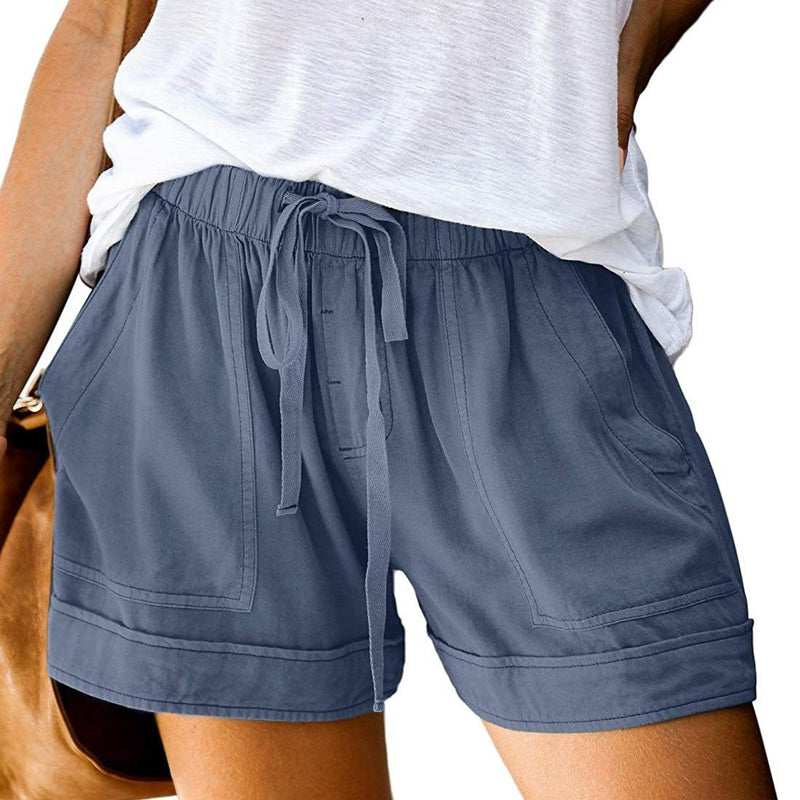 Elapsy Womens Casual Drawstring Elastic Waist Summer Shorts with Pockets Women's Clothing Blue S - DailySale
