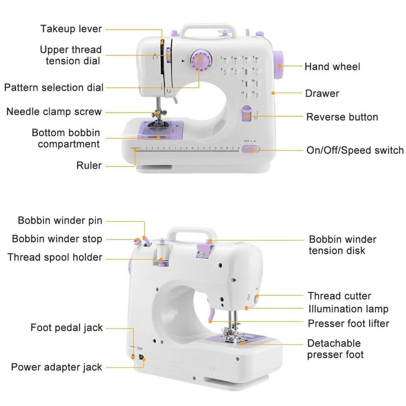 Electric Sewing Machine 12 Stitches with Foot Pedal Home Essentials - DailySale