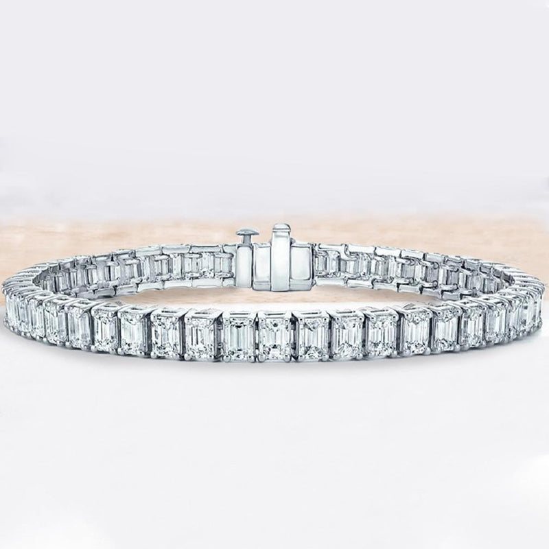 Emerald Cut Tennis Bracelet Made with Swarovski Elements Jewelry - DailySale