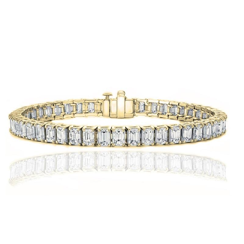 Emerald Cut Tennis Bracelet Made with Swarovski Elements Jewelry Gold - DailySale