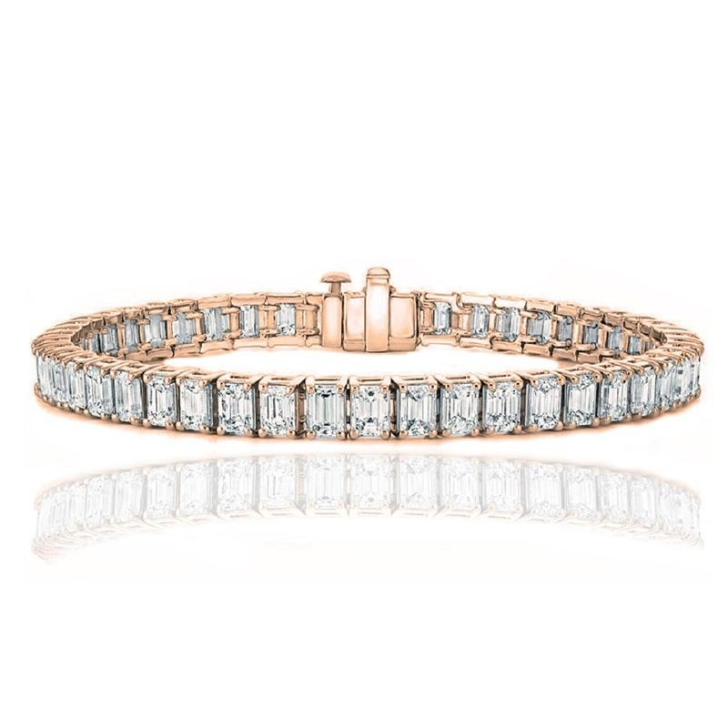 Emerald Cut Tennis Bracelet Made with Swarovski Elements Jewelry Rose Gold - DailySale