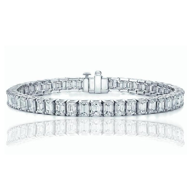 Emerald Cut Tennis Bracelet Made with Swarovski Elements Jewelry Silver - DailySale