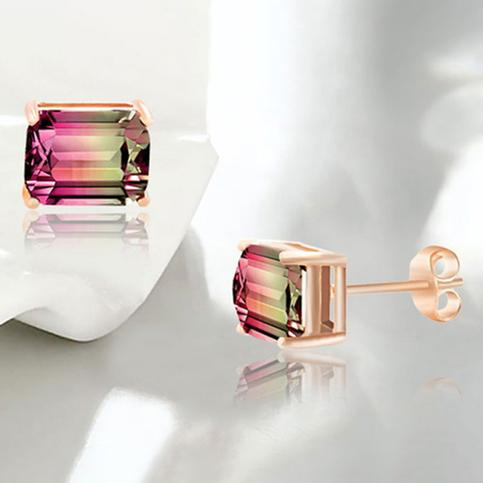 Emerald Cut Watermelon Crystal Stud Earring Jewelry - DailySale