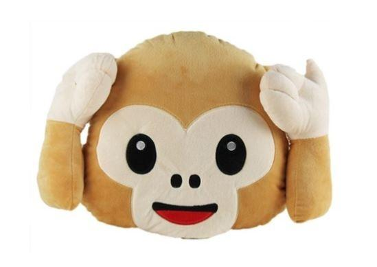 Emoticon Plush Decorative Pillows - Assorted Styles Linen & Bedding Hear No Evil Monkey - DailySale