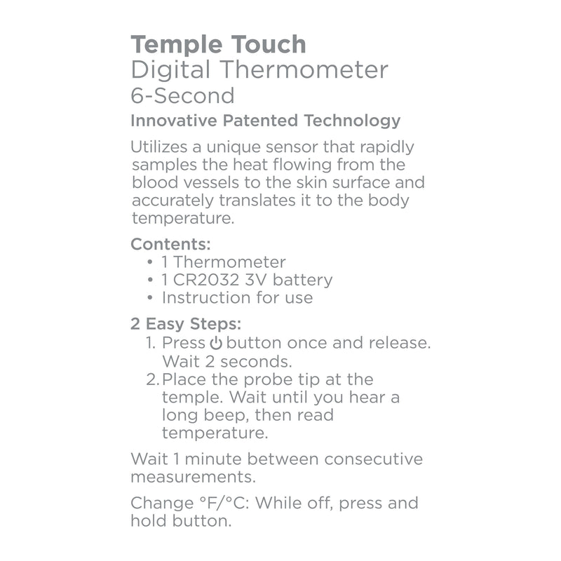 Equate Temple Touch 6-Second Digital Thermometer Wellness & Fitness - DailySale