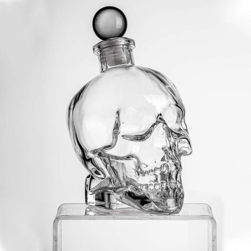 Eravino Large Skull Face Decanter with 4 Skull Shot Glasses and Beautiful Wooden Base Furniture & Decor - DailySale
