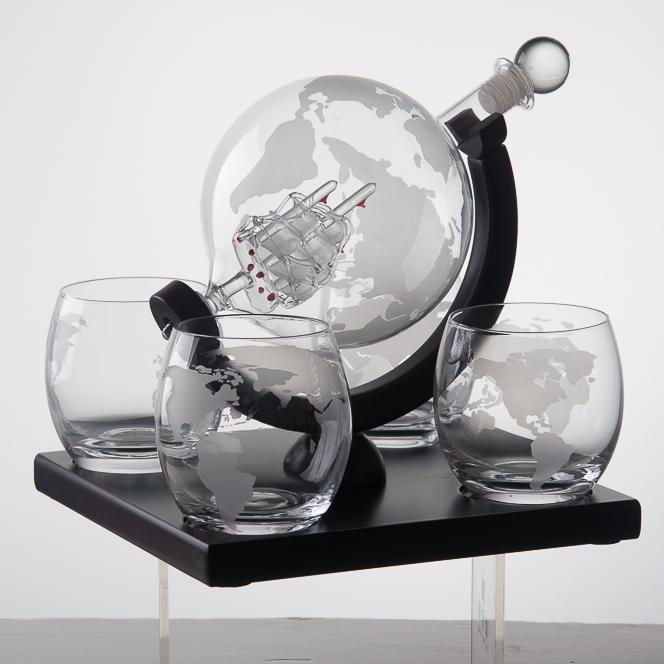 Eravino Whiskey Decanter Globe Gift Set with 4 Etched Glasses Furniture & Decor - DailySale
