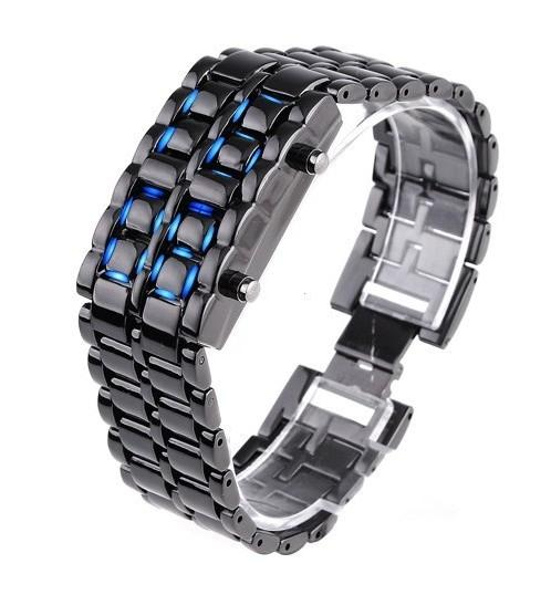Faceless Unisex Stainless Steel Titanium Waterproof LED Watch Men's Apparel Black Blue LED - DailySale
