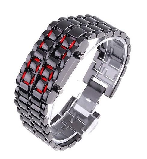 Faceless Unisex Stainless Steel Titanium Waterproof LED Watch Men's Apparel Black Red LED - DailySale