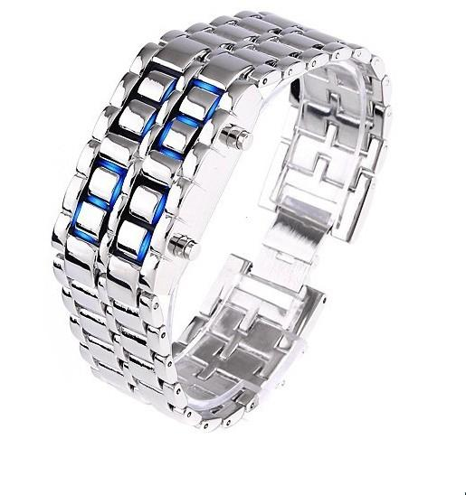 Faceless Unisex Stainless Steel Titanium Waterproof LED Watch Men's Apparel Silver Blue LED - DailySale