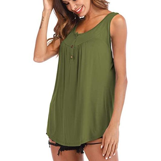 Famulily Women's Flowy Tank Tops Women's Clothing Army Green S - DailySale