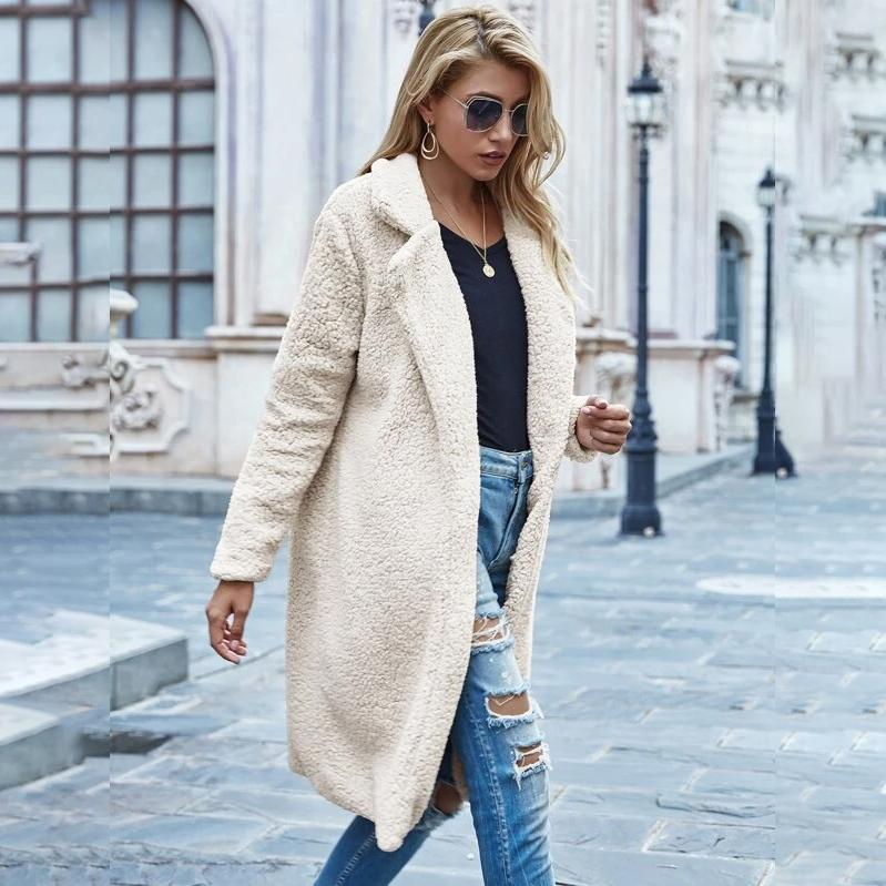 Faux Shearling Open-Front Longline Teddy Coat