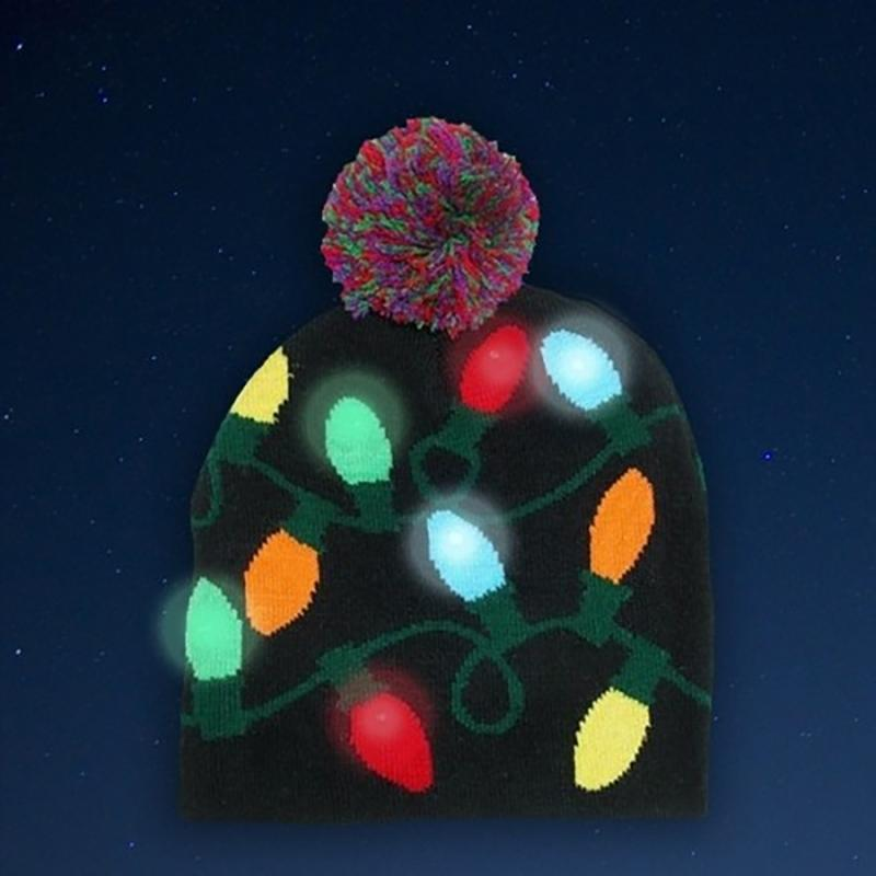 Festive LED Lights Knit Hat Women's Apparel - DailySale