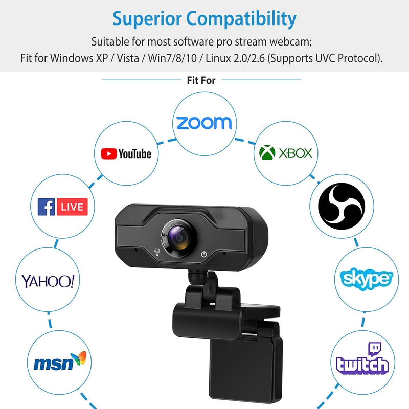 FHD 1080P USB Webcam with 360° Rotatable Clip Computer Accessories - DailySale