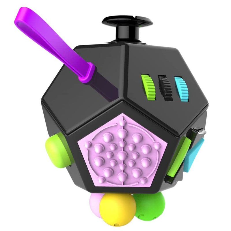 Fidget Dodecagon –12-Side Fidget Cube Relieves Stress and Anxiety Anti Depression Cube Toys & Games Black/Colorful - DailySale
