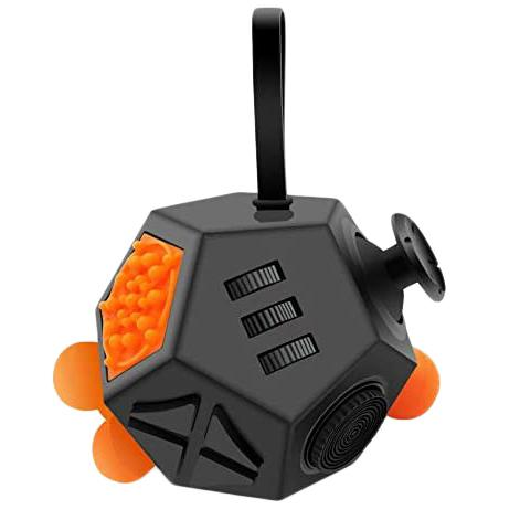 Fidget Dodecagon –12-Side Fidget Cube Relieves Stress and Anxiety Anti Depression Cube Toys & Games Black/Orange - DailySale