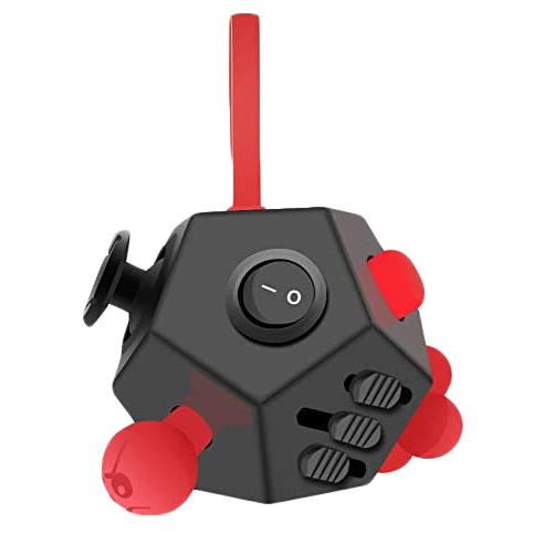 Fidget Dodecagon –12-Side Fidget Cube Relieves Stress and Anxiety Anti Depression Cube Toys & Games Black/Red - DailySale