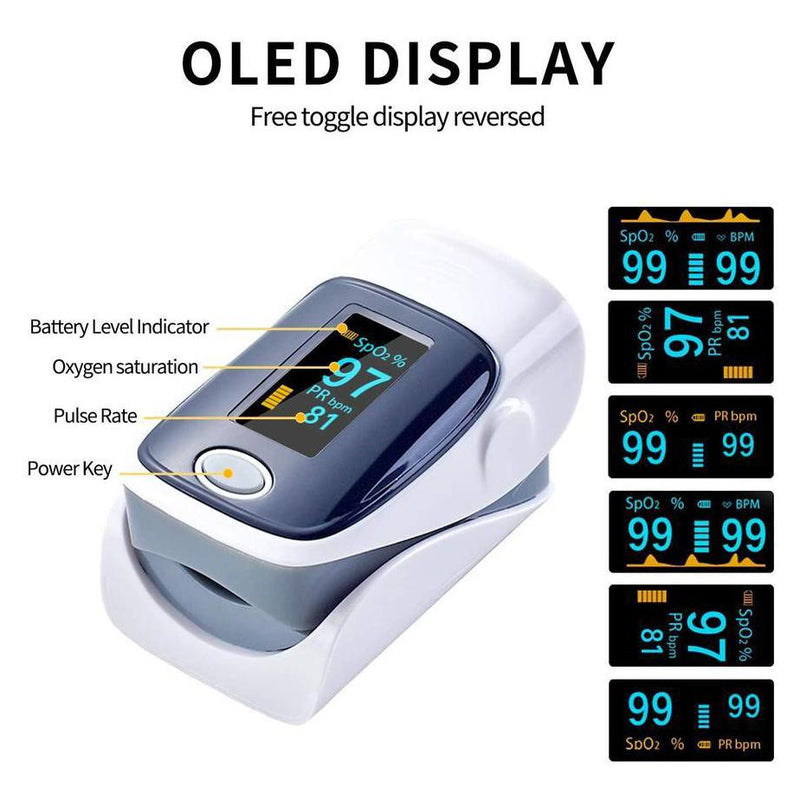 Fingertip Pulse Oximeter Blood Oxygen Meter SpO2 Heart Rate Monitor Face Masks & PPE - DailySale