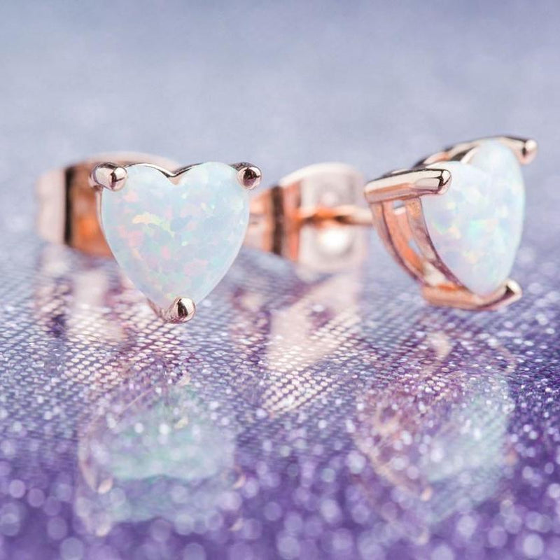 Fire Opal Heart Stud Earrings in 18K Rose Gold Plating Jewelry - DailySale