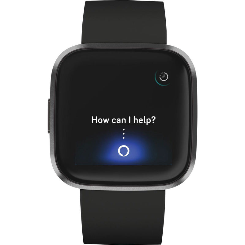 Fitbit - Versa 2 Smartwatch 40mm Aluminum - Black/Carbon with Silicone Band Smart Watches - DailySale