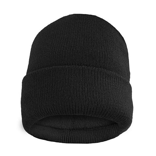 Fleece Lined Fold Over Thermal Winter Hat Men's Accessories Black - DailySale