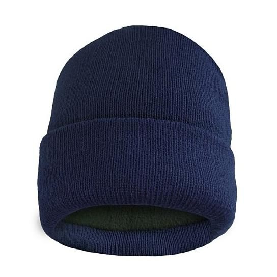 Fleece Lined Fold Over Thermal Winter Hat Men's Accessories Navy - DailySale