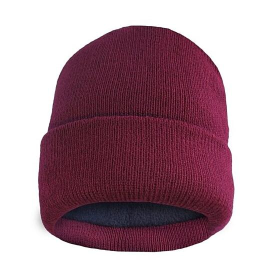 Fleece Lined Fold Over Thermal Winter Hat Men's Accessories Wine - DailySale