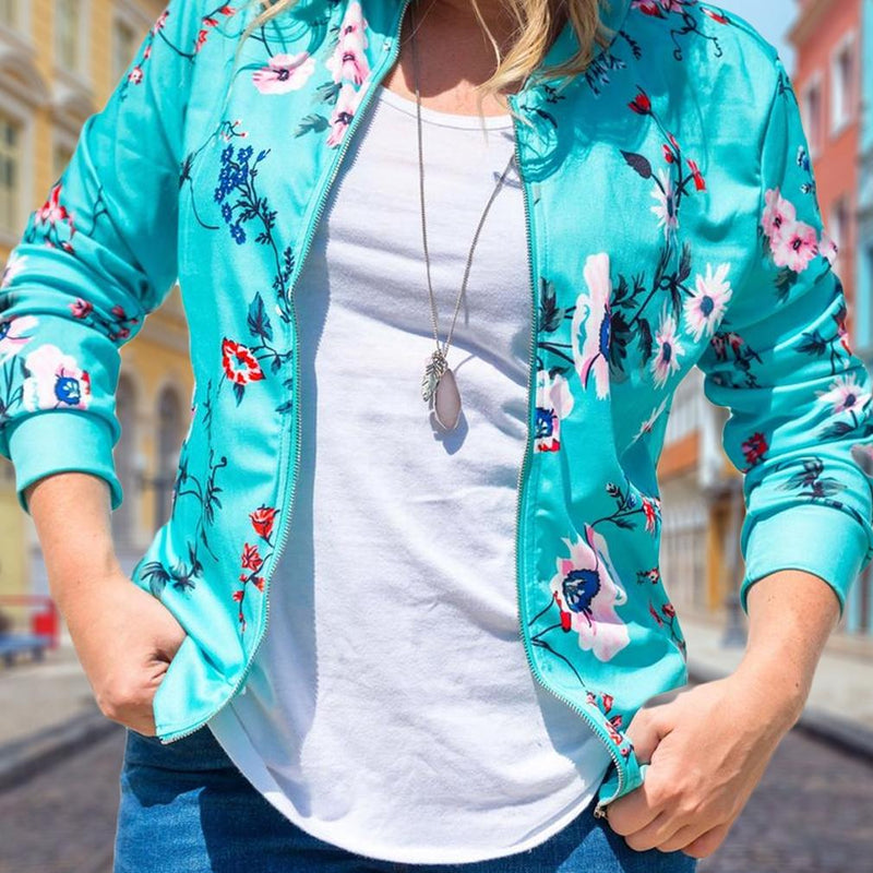 Floral-Patterned Lightweight Women's Jacket Women's Apparel - DailySale