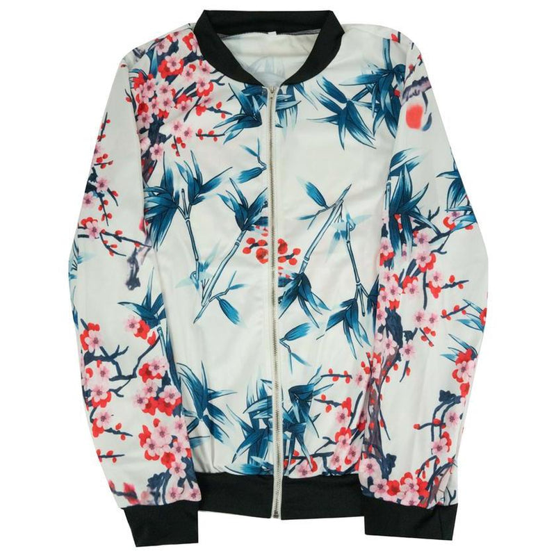 Floral-Patterned Lightweight Women's Jacket Women's Apparel M Ivory - DailySale