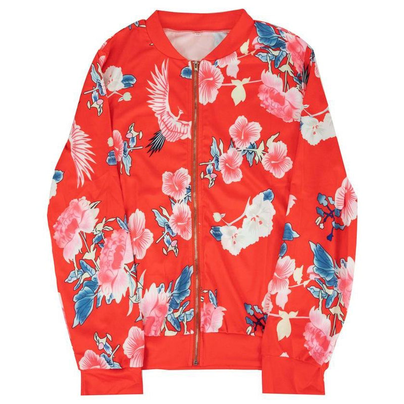 Floral-Patterned Lightweight Women's Jacket Women's Apparel M Red - DailySale