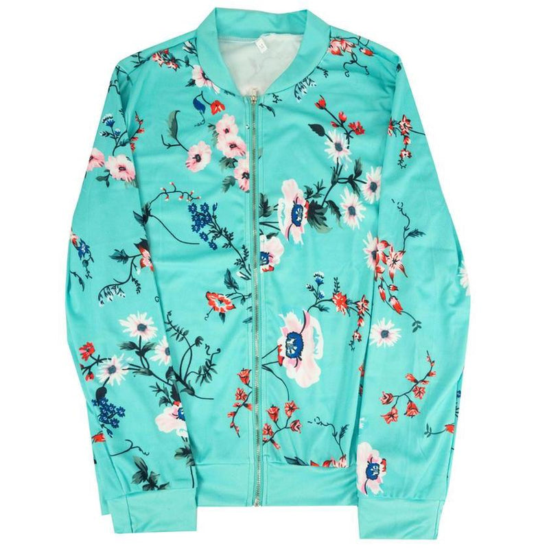 Floral-Patterned Lightweight Women's Jacket Women's Apparel M Teal - DailySale