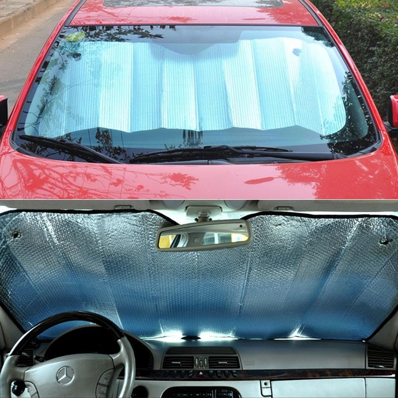 Fold-Up Reflective Windshield Sun Shade with Suction Cups Auto Accessories - DailySale