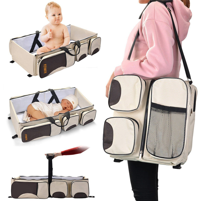 Foldable 3-in-1 Tote Bag Baby Bed Changing Station Travel Carrycot Baby - DailySale
