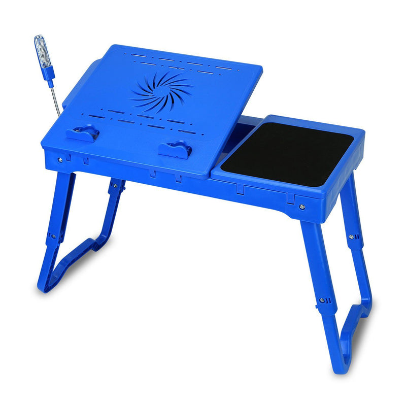 Foldable Laptop Table Bed Notebook Desk with Cooling Fan Mouse Board