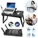 Foldable Laptop Table Bed Notebook Desk with Cooling Fan Mouse Board Gadgets & Accessories - DailySale