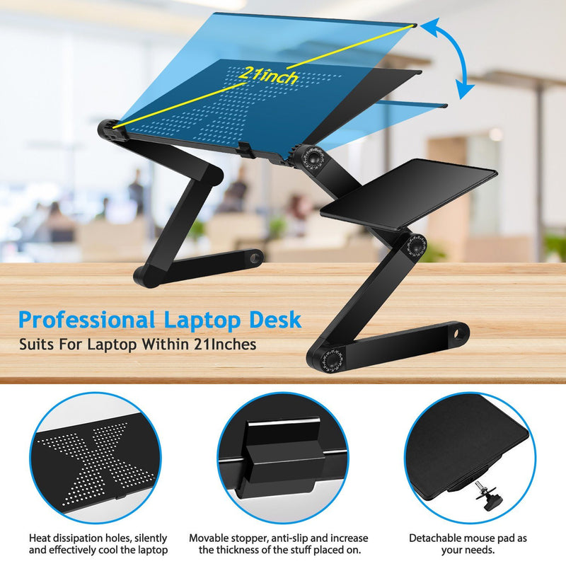 Foldable Laptop Table Bed Notebook Desk with Mouse Board Computer Accessories - DailySale