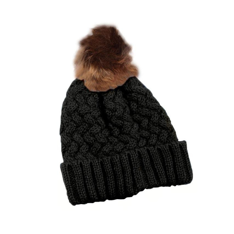 Fur Pom-Pom Toque Women's Accessories Black - DailySale