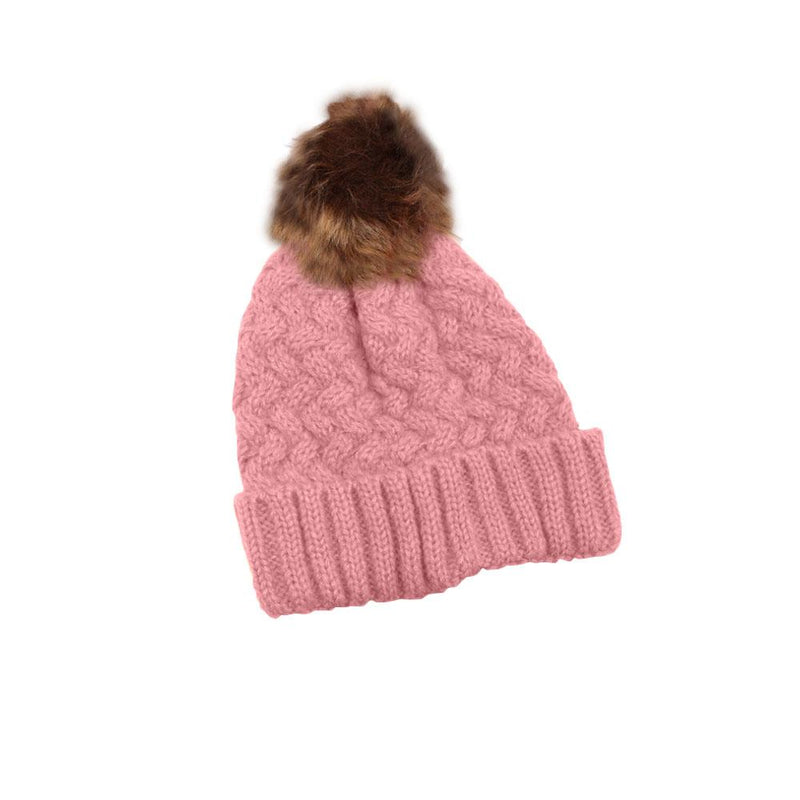 Fur Pom-Pom Toque Women's Accessories Pink - DailySale