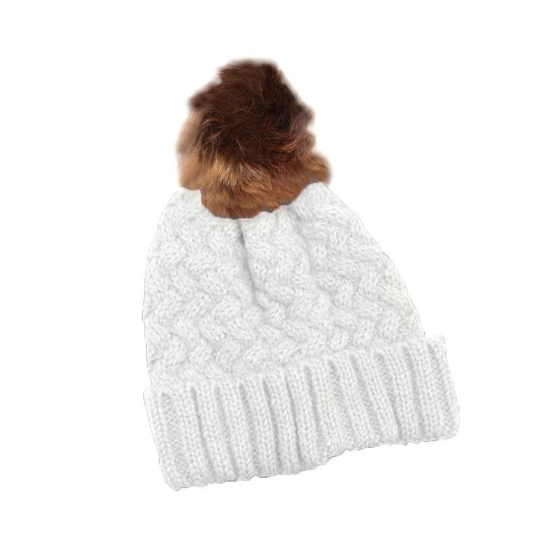 Fur Pom-Pom Toque Women's Accessories White - DailySale