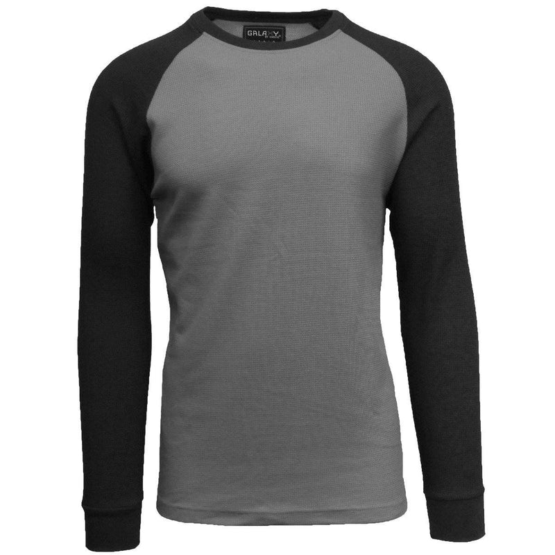 Galaxy by Harvic Men's Raglan Thermal Shirt - Assorted Sizes Men's Apparel S Charcoal/Black - DailySale