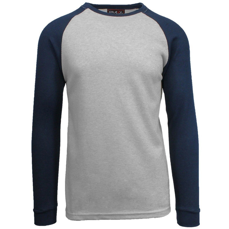 Galaxy by Harvic Men's Raglan Thermal Shirt - Assorted Sizes Men's Apparel S Heather Gray/Navy - DailySale